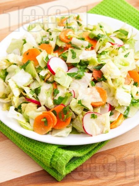 Салата айсберг с моркови и репички - снимка на рецептата